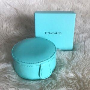 Tiffany & Co round leather jewelry case